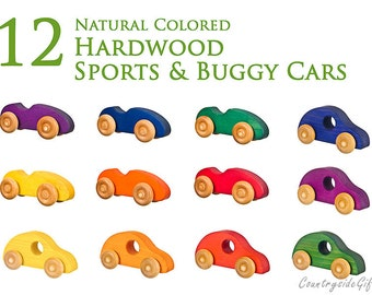 Wooden Toy Car –Natural and Organic Wooden Toy Car for Toddlers, Kids, Children, Wooden Toy Sports Cars & Buggy Cars - Set Of 12