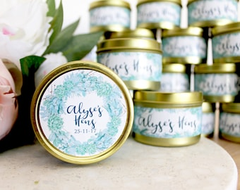 Custom Party Favour, Personalised Candle, Wedding Favours, Hens Party, Bridal Shower, Bridesmaid Asking, Succulent, Soy Candle, Party Gift