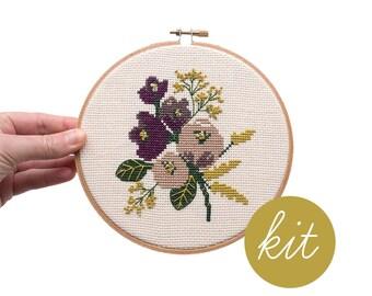 Amethyst Floral, Modern Cross Stitch Kit