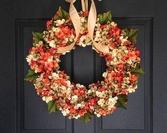 WREATHS | Fall Wreath | Front Door Wreaths | Blended Hydrangea Wreath | Autumn Wreath | Fall Door Wreath | Outdoor Fall Wreaths