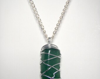 Green Aventurine Silver Wire Wrapped Pendant with Chain Necklace