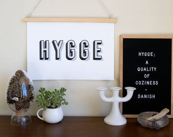 HYGGE Typography Print - a Scandinavian modern design print // color options // 8.5x11 or 13x19 // Danish wall art // Danish language