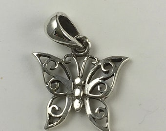 Butterfly Charm .925  cut out design with attached bail Sterling Silver