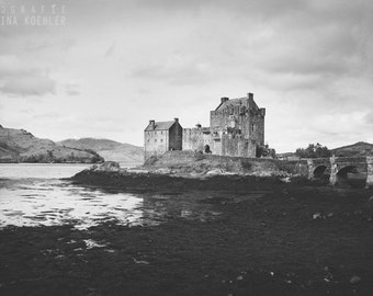 CASTLE photography print, black and white Scotland landscape, 8x12
