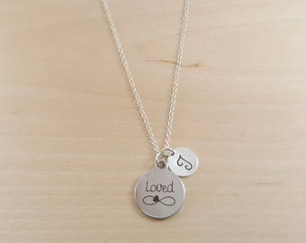 Loved Necklace - Infinity Necklace - Personalized Necklace - Custom Initial Necklace- Silver Necklace - Custom Necklace - Handmade/ Gift