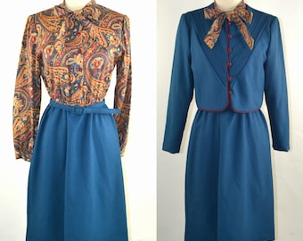 1970s/1980s Blue and Maroon Paisley Dress, Jacket and Belt, 3 Piece Set