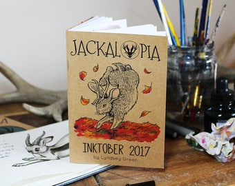 Inktober 2017 Jackalopia Zine (A6) - Handmade from Recycled Papers