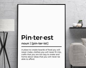 Pinterest Definition Print | Christmas Gift | Printable Gift | Printable Definition | Wall Decor | Wall Art | Instant Art | Digital Prints |