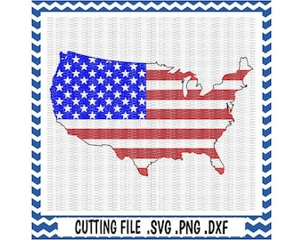 USA, America, American Flag Svg-Dxf-Fcm-Png Cutting File For Cricut Design Space and Silhouette Cameo, Svg Download