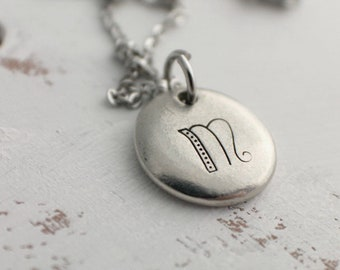 Personalized Initial Jewelry - Hand Stamped Jewelry - Organic Pewter Pebble Necklace - Pewter Custom Necklace - Pewter Jewelry - Mothers Day