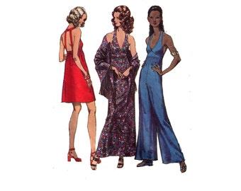 """Simplicity 9759, 70s sewing pattern, size 10 bust 32 waist 24"""" women's dress pattern, pantdress pattern, shawl collar, fringe shawl"""