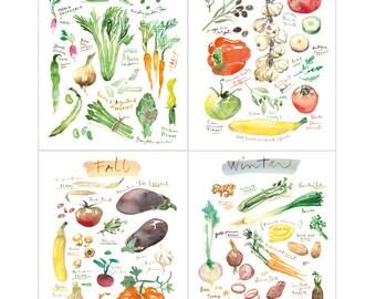 Set of 4 seasonal food art prints, Kitchen art, Watercolor painting, Vegetable illustration set, 4 seasons wall art, Kitchen wall decor
