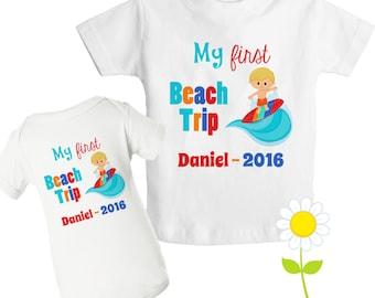 Personalized First Beach Trip T-Shirt - 1st Beach Trip Bodysuit - Custom Surfing T-Shirt for Kids - Beach Surfer Shirt or Bodysuit for Boys