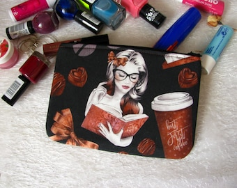Zippered pouch with cute reader, makeup bag, phone case, purse