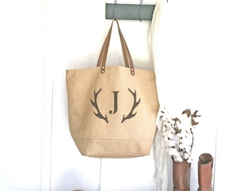 Monogrammed Tote Bag with Deer Antler Monogram | Gift for Her | Gifts for Women | Antlers Shoulder Bag | Personalized Tote | Gift for Teens