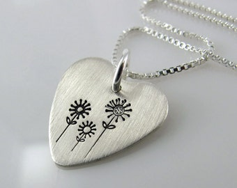 "Hand Stamped Heart Pendant Necklace - 5/8"" Hand Stamped Sterling Silver Heart"