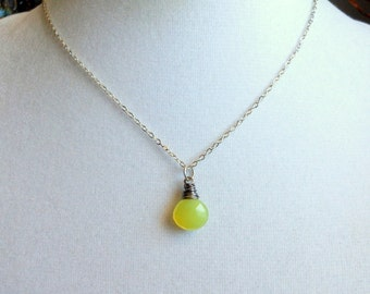 Lemon drop Chalcedony Briolette Necklace Wirewrapped with Oxidized Sterling Silver Wire Sterling Chain