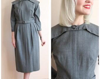 1950s Dress // Marshall Fields & Co Wool Dress // vintage 50s dress
