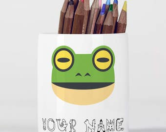Personalised Frog Cute Animal Children Customizable Pencil Pot, Pencil Holder, Pen Pot, Pen Holder, Gift Idea, Children Gift, PPC055