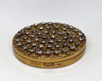 Clear Rhinestone Vintage Compact, Bling Gold Mirror Compact, Floral Rhinestone Mirrored Compact