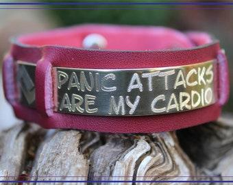 "Customizable ""Panic Attacks Are My Cardio"" Handmade Wide Jewelers Brass Mental Health Awareness Bracelet Cuff (Red Genuine Leather - 195RD"