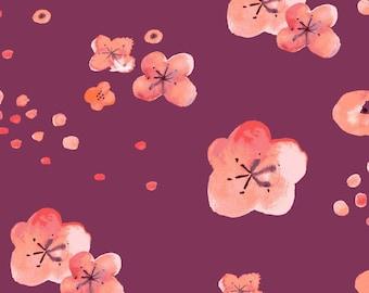 ORGANIC Cotton Quilting Fabric Cherry Blossom Dawn on Plum from Monaluna Haiku 2 collection