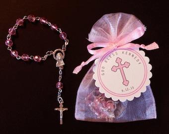 Mini Rosary Favor Sets - Girls Baptism Favor - Christening Favor - Communion Favor - First Communion Favor  - Pink - Cross - Girls