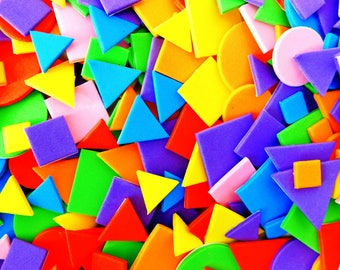 500 Self adhesive Sticky Craft Foam craft shapes assorted colours