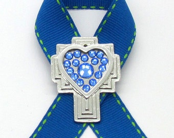Colon Cancer Awareness Pin, Cross, Crystals, Handmade, Gift for Anyone, Angels, Jewelry