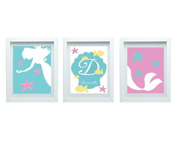 Art For Girls Mermaid Decor Girls Bedroom Decor Baby Bathroom