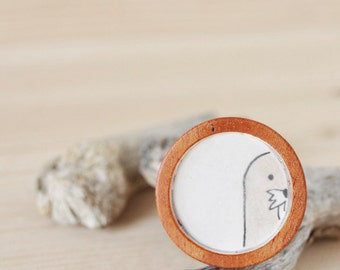 Cute Hand Drawn Wooden Brooch - One of a Kind - The Walrus