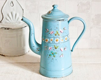 Amazing Antique Sky Blue Enameled Coffee Pot - Flowers Pattern Farmhouse Home Decor - Country Style - Shabby Chic