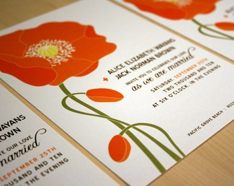 Poppy in the Sun Wedding Invitations Double Sided with Kraft Envelopes, Customized