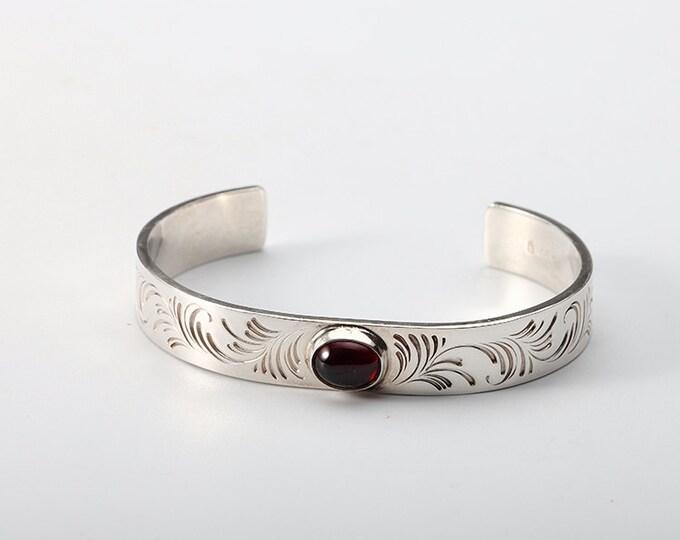 Garnet Bangle   January Birthstone Bangle   Silver Cuff Bracelet   Engraved Silver Bracelet   Open Silver Bangle   Personalized Bangle Cuff