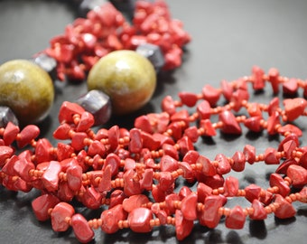 Red Coral Necklace Red Beaded Necklace Long Layered Necklace Multi Strand Long Necklace Natural Red Coral Jewelry Beaded Artisan Jewelry