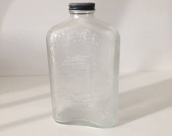 Glass Water Bottle Owens Illinois Embossed Clear 1 Quart Water Well Bottle Refrigerator Bottle Flask Shape 1930s Eco Friendly Hydration