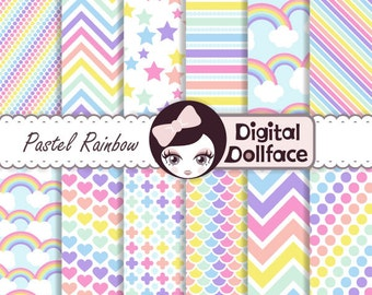 Pastel Rainbow Digital Paper, Pattern, Cardstock, Scrapbook Paper, Digital