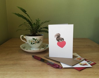 Squirrel love card for Mother's Day, anniversary, new baby. Funny card with a squirrel on a heart. Blank inside for your personal message.