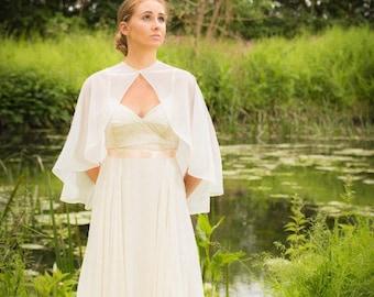 Chiffon Wedding Cape - Bridal Cape - Bridal Cover Up - Chiffon Capelet - Chiffon Cape - Boho Cape
