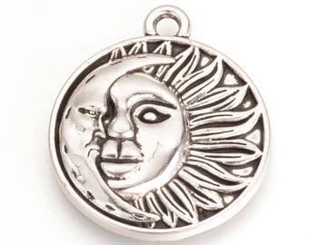 Sun Charms Sunshine Charm Silver Sun Charms Celestial Charms Sunshine Pendants Metal Sun Charms Sun and Moon Charms 29mm 2pc