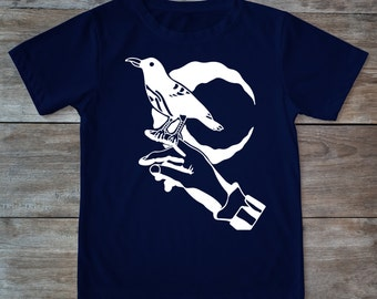 Raven shirt, bird shirt, edgar allen poe shirt, birds, tattoo shirt, classic tattoo art, old school shirt, hipster gift, gift tattoo lover