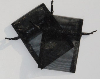 Black Organza Bags, 100  3 x 4 inches