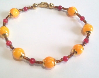 Orange Mother of Pearl and Red Stone Beaded Bracelet, Cinnamon Brown Seed Bead Bracelet, Orange Bead Jewelry, Large Size 8 Inches