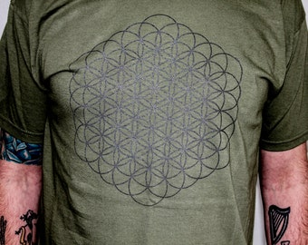 MENS Olive green and gunmetal black Flower of life print tee