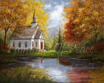 Church - Painting -Print - Art - Autumn - Lake - Pond  -   11 x 14 Print   -  FREE SHIPPING this WEEK