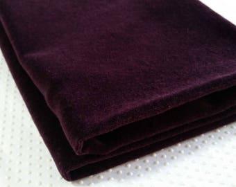 Velvet fabric in aubergine eggplant