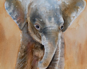 Baby Elephant, Baby room decor, baby wall art Print, Elephant Art,  Nursery decor,  PRINT  watercolor painting, FREE Shipping