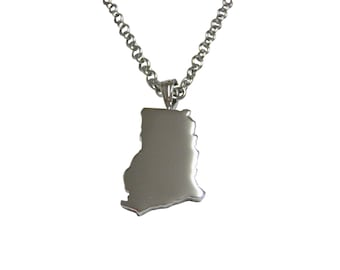 Ghana Map Shape Pendant Necklace
