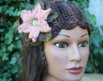 Wool Headband with Felted Flower-Pink, Espresso- Ear Warmer, Ear Muffs- Boho Accessory