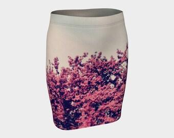Pink cherry blossom womans skirt